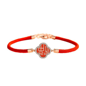 Fortune Flower Cubic Zirconia Red Rope Lucky Bracelet - FengshuiGallary