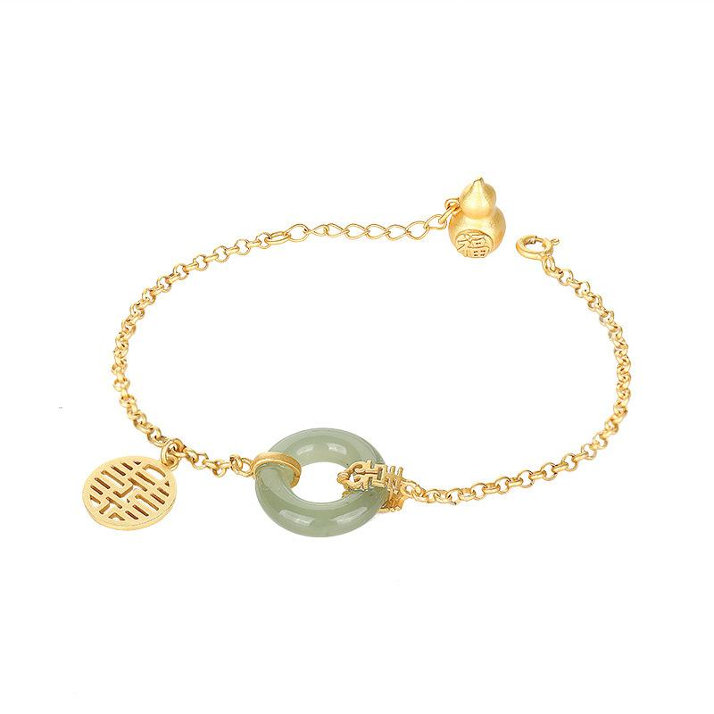 Gold Calabash Full Blessing Green Jade Wealth Bracelet - FengshuiGallary