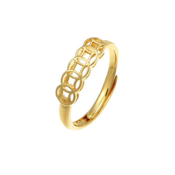 Gold Feng Shui Coin Wealth Ring - FengshuiGallary