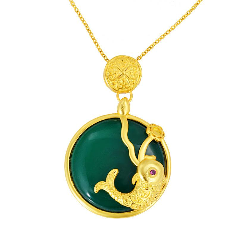 Gold Feng Shui Koi Fish Green Jade Pendant Necklace - FengshuiGallary