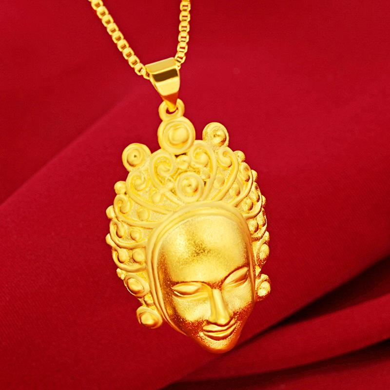 Gold Guan Yin Buddha Lucky Amulet Necklace - FengshuiGallary