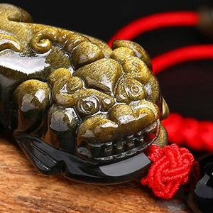 Gold Obsidian Pixiu Lucky Rope Protection Bracelet(Gold Sheen Obsidian) - FengshuiGallary
