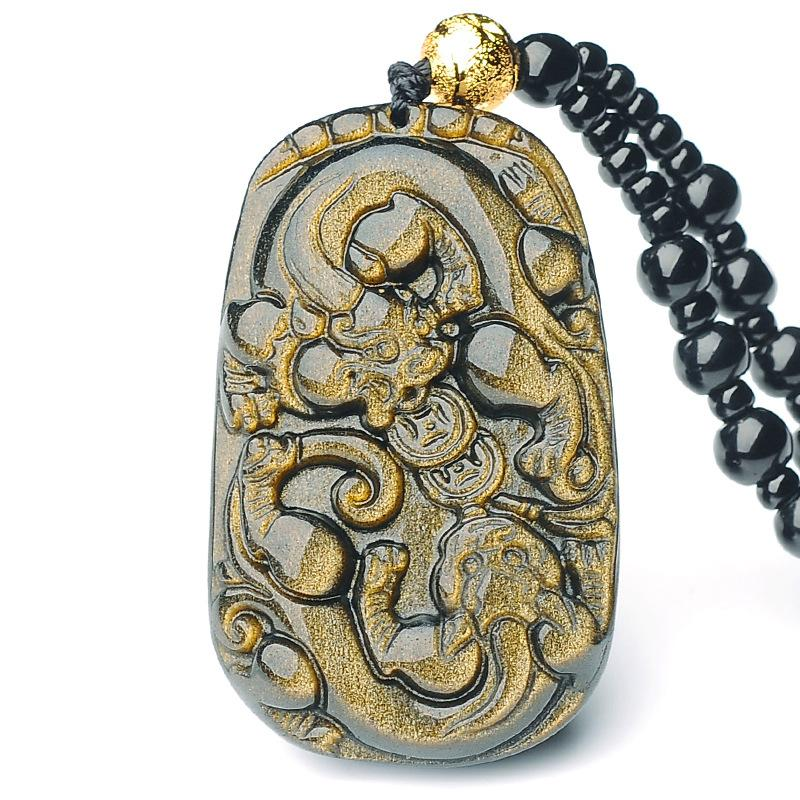 Gold Obsidian Pixiu Protection Pendant Necklace(Gold Sheen Obsidian) - FengshuiGallary