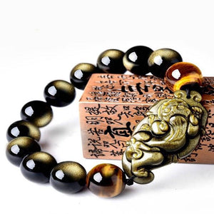 Gold Obsidian Pixiu Tiger Eye Beads Protection Bracelet - FengshuiGallary