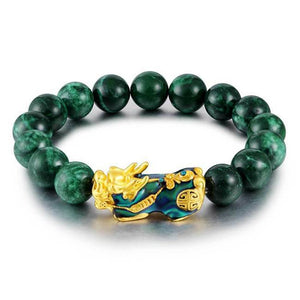 Gold Pixiu Protection Jade Bracelet - FengshuiGallary