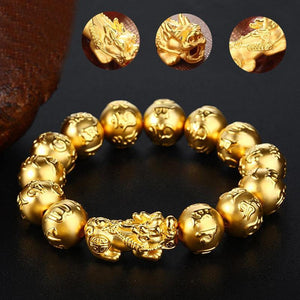 Gold Pixiu Wealth Mantra Bracelet - FengshuiGallary