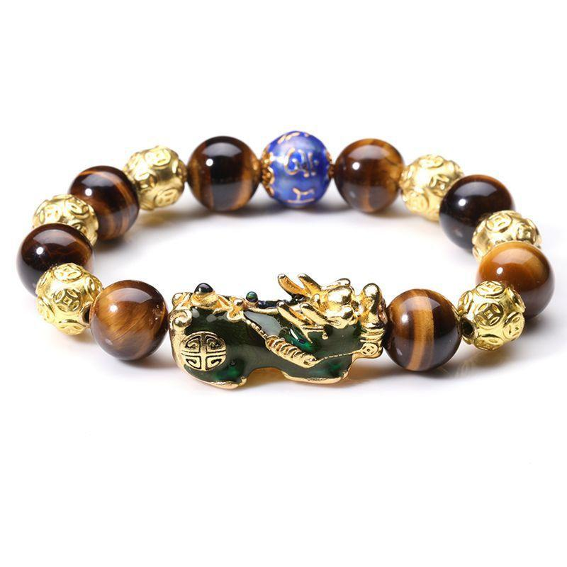 Gold Tiger Eye Color Changing Pixiu Protection Bracelet - FengshuiGallary