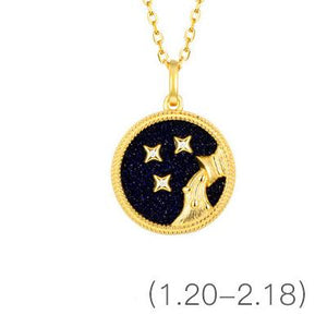 Gold Zodiac Sign 12 Constellation Lucky Amulet Pendants Necklace - FengshuiGallary