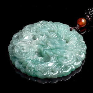 Grand A Natural Green Jade Auspicious Dragon Lucky Pendant Necklace - FengshuiGallary