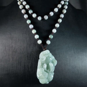 Grand A Natural Green Jade Pixiu Wealth Pendant Necklace - FengshuiGallary