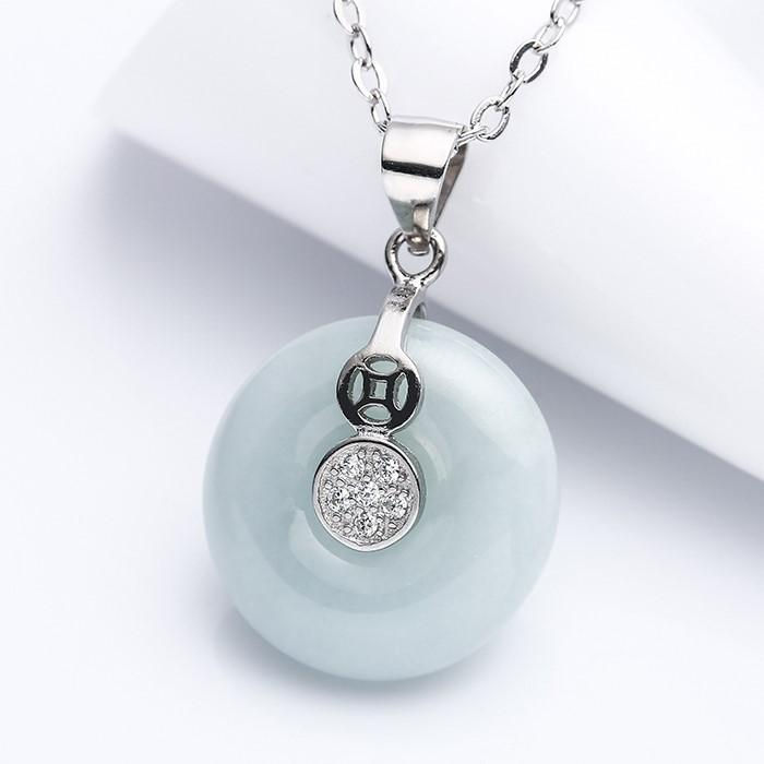 Grand A Natural White Jade Healing Pendant Necklace - FengshuiGallary
