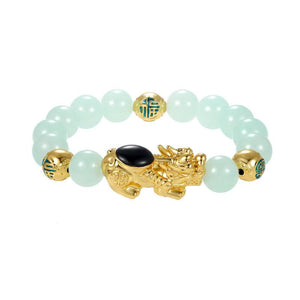 Green Agate Gold Full Blessing Bead Pixiu Wealth Bracelet - FengshuiGallary