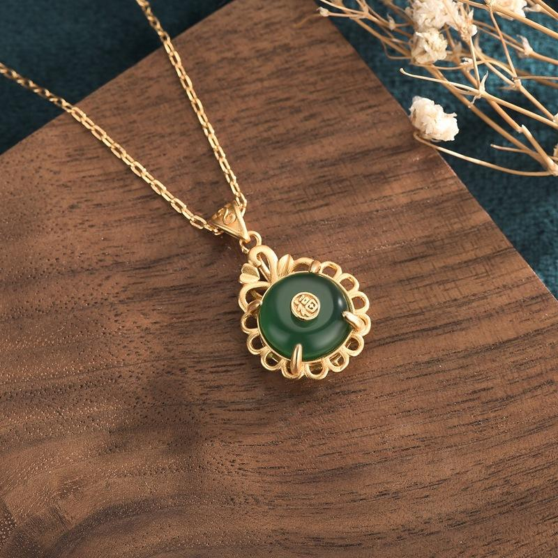 Green Jade Fu Wealth Pendant Necklace - FengshuiGallary