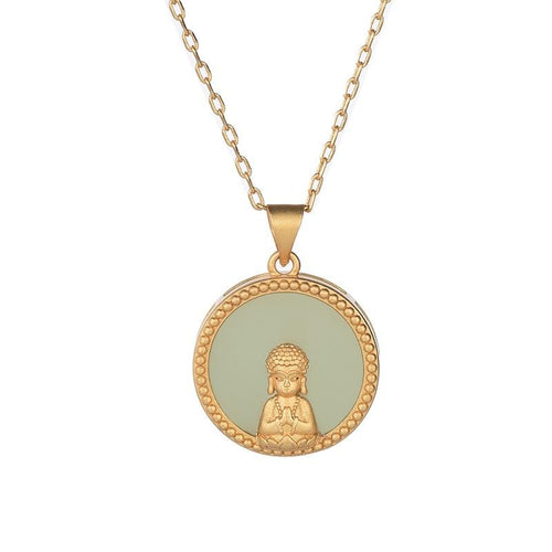 Green Jade Gold Guan Yin Buddha Protection Pendant Necklace - FengshuiGallary