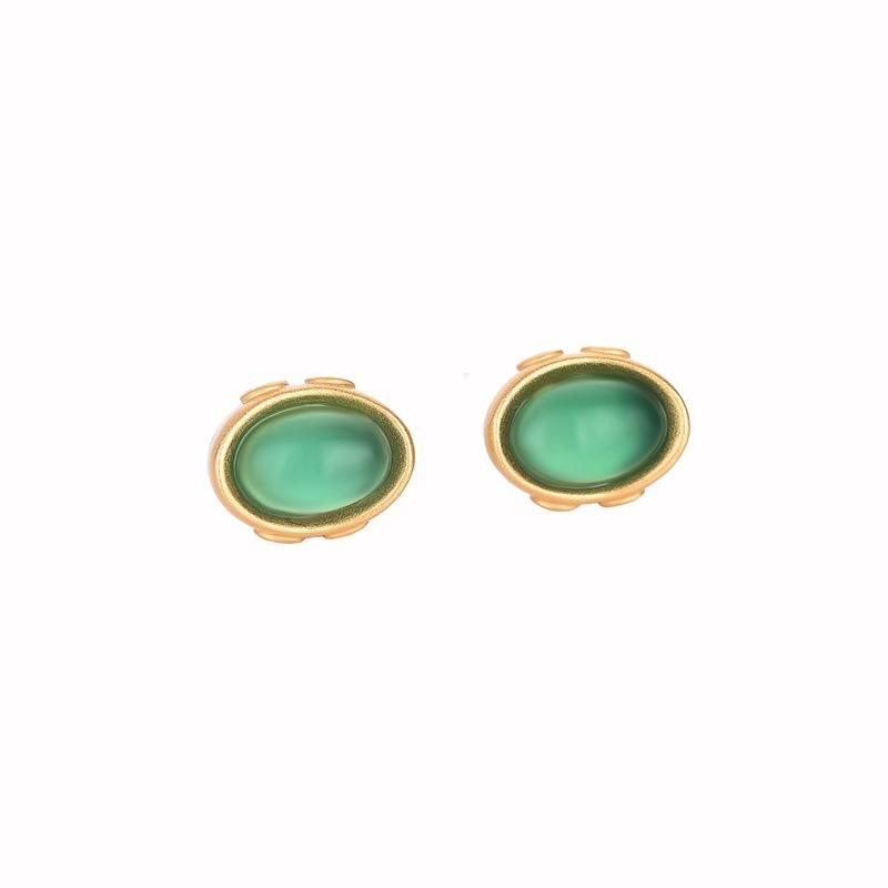 Green Jade Golden Ingots Wealth Earring - FengshuiGallary