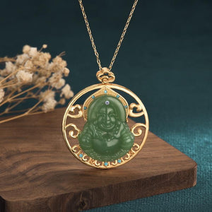 Green Jade Laughing Buddha Lucky Pendant Necklace - FengshuiGallary