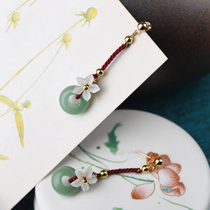 Green Jade Red String Lucky Earring - FengshuiGallary