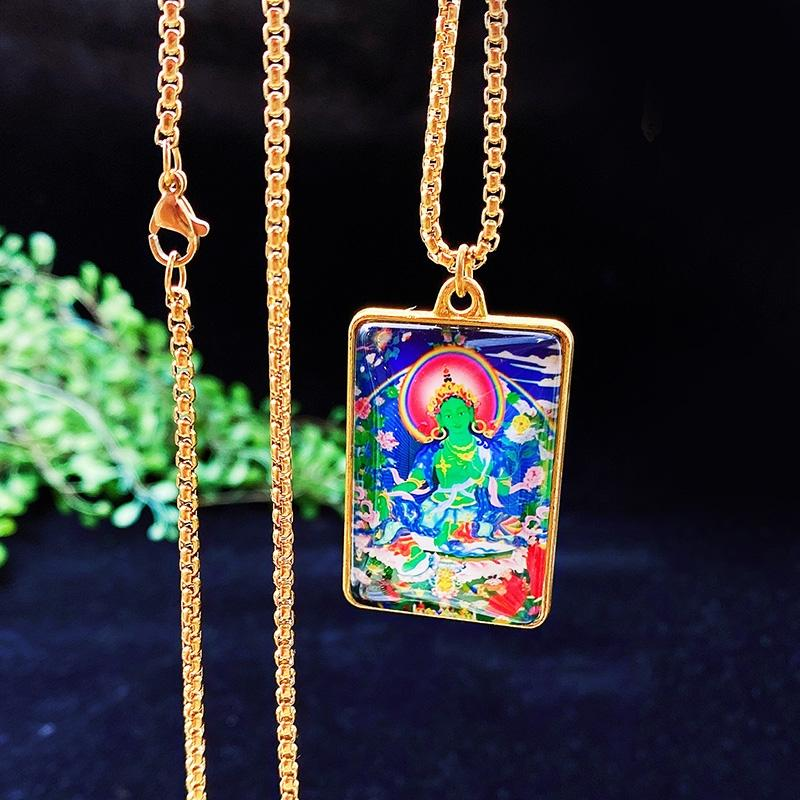Green Tara Buddha Thang Ka Pendant Necklace - FengshuiGallary