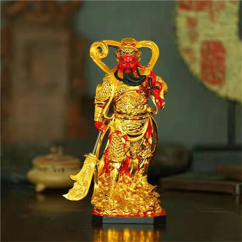 Guan Gong Gold Plated Wealth Statue - FengshuiGallary
