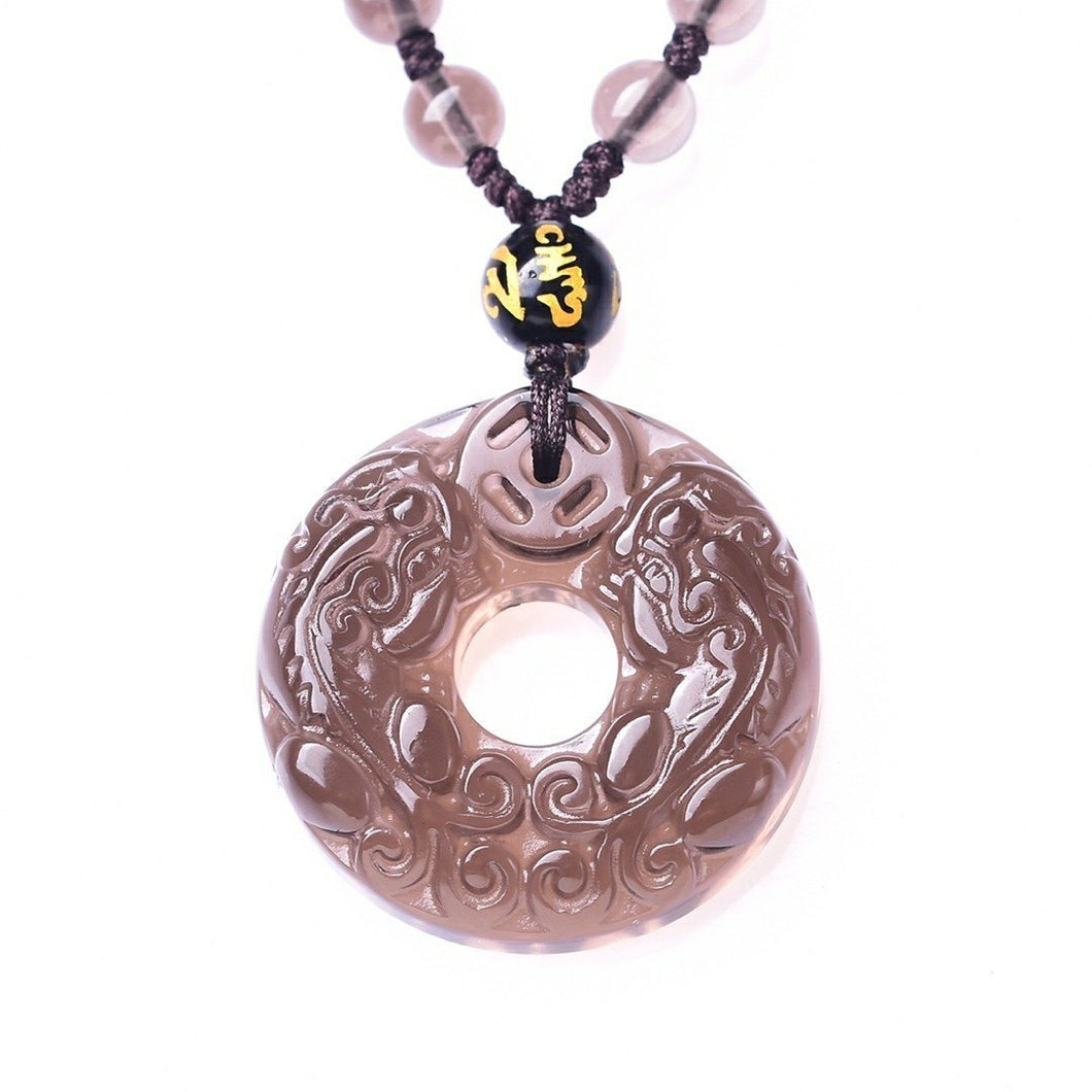 Ice Obsidian Double Pixiu Protection Pendant Necklace - FengshuiGallary