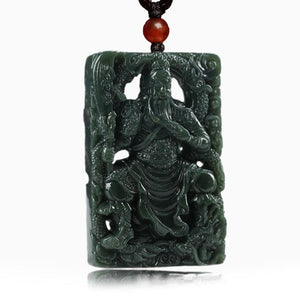 Kwan Kung Green Jade Wealth Hollow Carving Pendant - FengshuiGallary