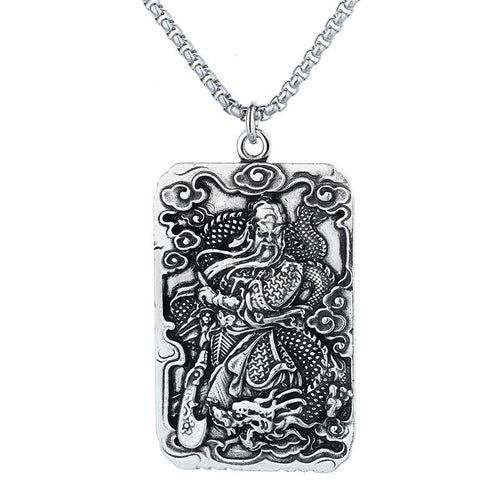 Kwan Kung Silver Wealth Pendant Necklace - FengshuiGallary