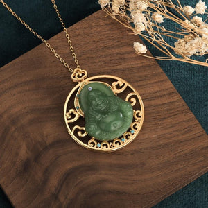 Laughing Buddha Green Jade Pendant Necklace - FengshuiGallary