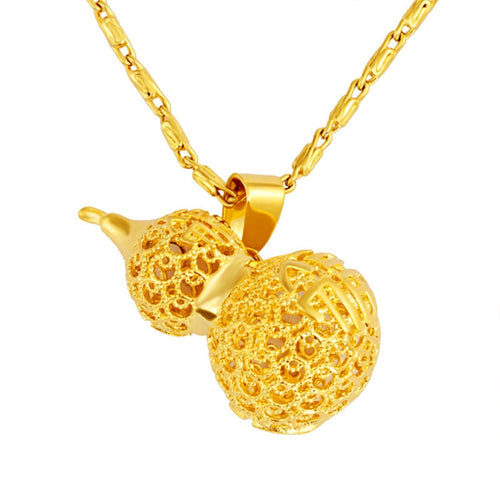 Lucky Gold Calabash Pendant Necklace - FengshuiGallary