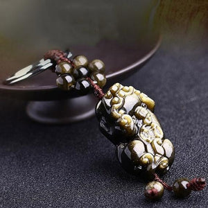 Lucky Gold Obsidian Pixiu Protection Auto Key Chain Pendant - FengshuiGallary