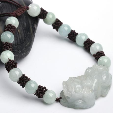 Lucky White Jade Rope Pixiu Wealth Bracelet - FengshuiGallary