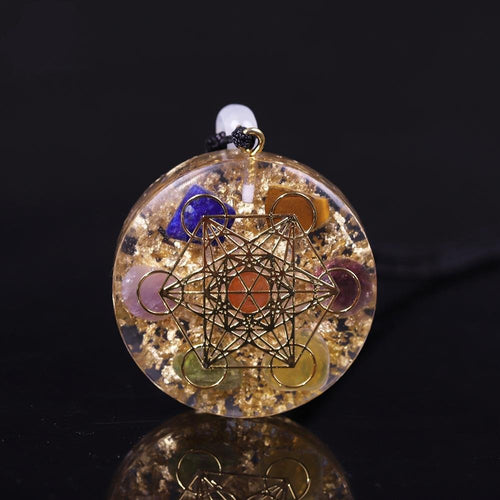 Mix Rainbow Crystal Orgonite Chakra Reiki Healing Pendant Necklace - FengshuiGallary