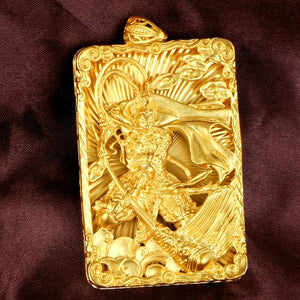 Monkey King Gold Plated Protection Pendant - FengshuiGallary