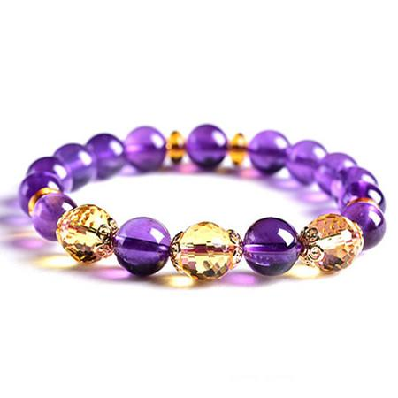 Natural Amethyst Citrine Beads Wealth Bracelet - FengshuiGallary