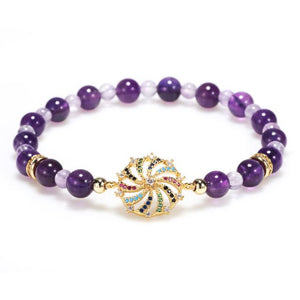 Natural Amethyst Double Stars Protection Bracelet - FengshuiGallary