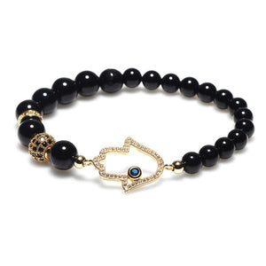 Natural Black Agate Hollow Hand of Fatima Protection Bracelet - FengshuiGallary