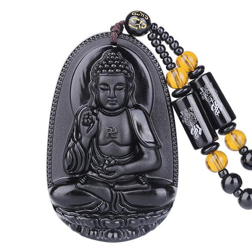 Natural Black Obsidian Guanyin Buddha Lucky Amulet - FengshuiGallary