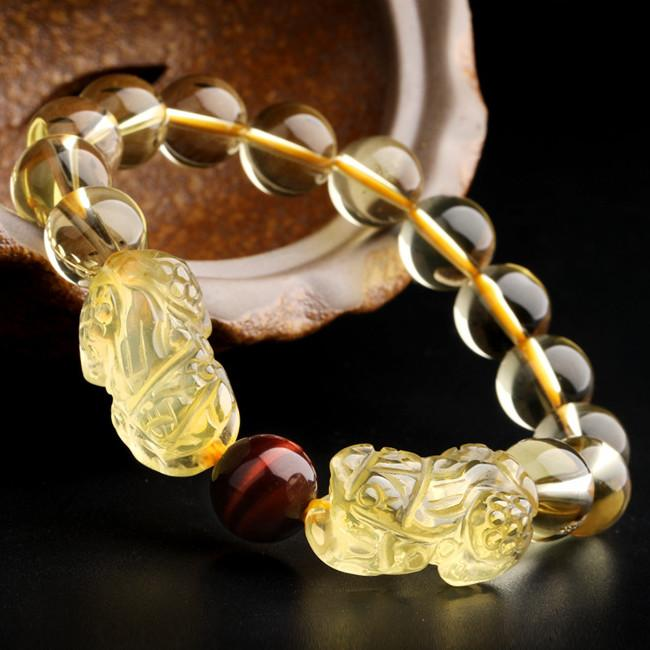 Natural Citrine Double Pixiu Tiger`s Eye Wealth Bracelet - FengshuiGallary