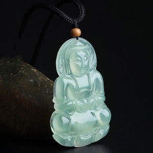 Natural Green Ice Jade Guan Yin Buddha Full Blessing Lucky Pendant - FengshuiGallary