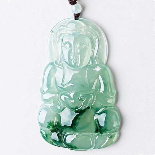 Natural Green Ice Jade Guan Yin Buddha Lucky Pendant - FengshuiGallary