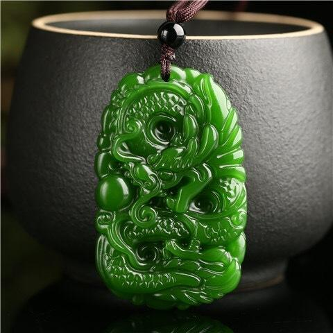 Natural Green Jade Dargon Pendant Abundance Necklace - FengshuiGallary