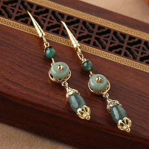 Natural Green Jade Lucky Ear Ring - FengshuiGallary