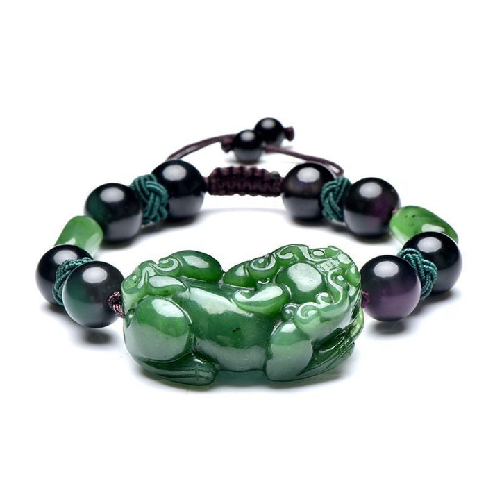 Natural Green Jade Pixiu Black Obsidian Bead Rope Wealth Bracelet - FengshuiGallary