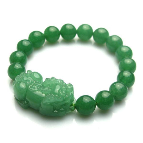 Natural Green Jade Wealth Pixiu Bracelet - FengshuiGallary