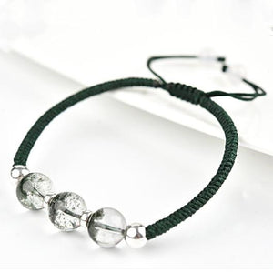 Natural Green Phantom Crystal Stone Lucky Rope Bracelet(Green Ghost Crystal) - FengshuiGallary