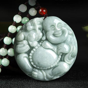 Natural Green White Jade Laughing Buddha Lucky Pendant Necklace - FengshuiGallary