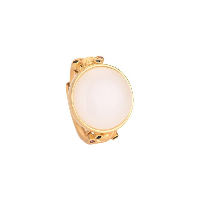 Natural Hotan Jade Wealth Gold Ring - FengshuiGallary