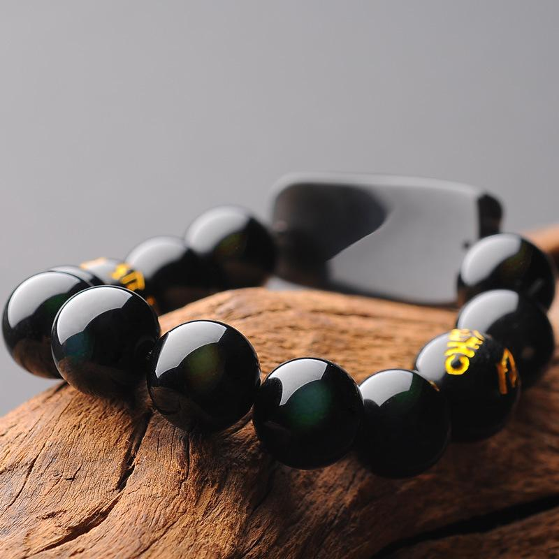 Natural Ice Black Obsidian Pixiu Buddha Beads Wealth Bracelet - FengshuiGallary