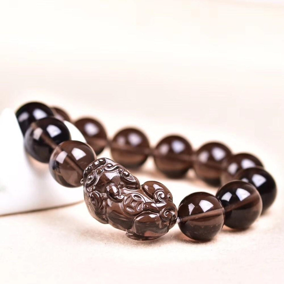 Natural Ice Black Obsidian Pixiu Wealth Bracelet - FengshuiGallary