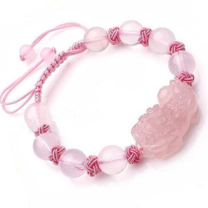 Natural Pink Crystal Charm Pixiu Bracelet - FengshuiGallary