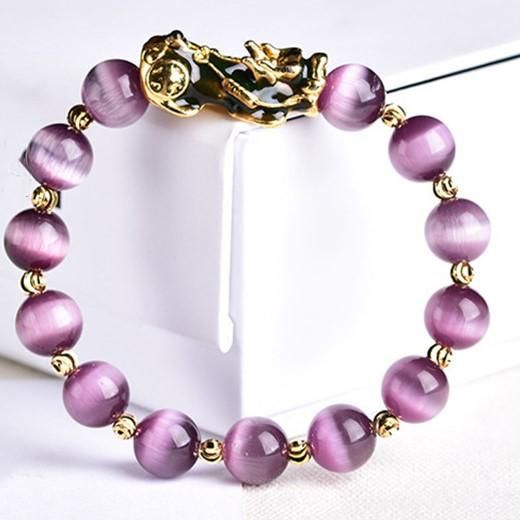 Natural Purple Cat`s Eye Color Changing Pixiu Wealth Bracelet - FengshuiGallary